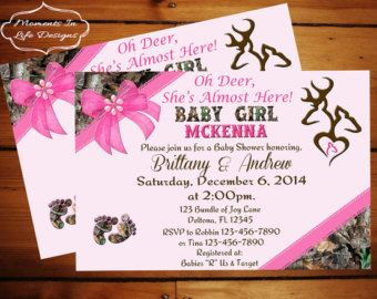 Sweet Pink Camo Baby Shower by countrydigitaldesign on Etsy