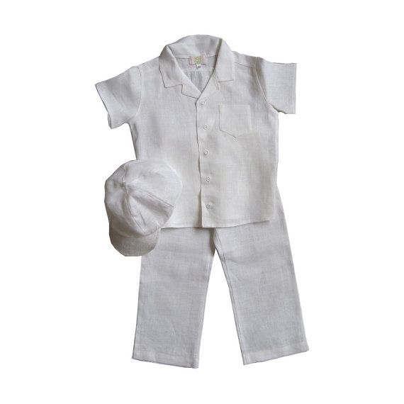 Boys linen suit white baby boy linen costume Christening by EcoEmi