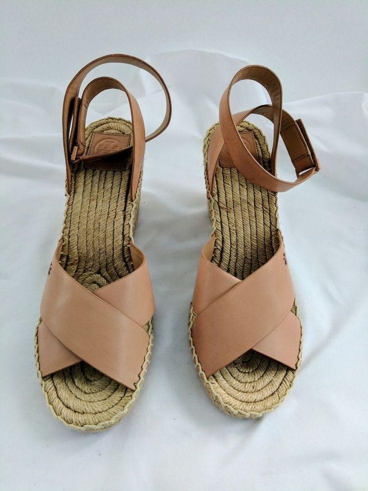 Tory Burch Sandals BIMA Wedge Tan Leather Espadrilles Ankle Wrap Sz 10 NWT