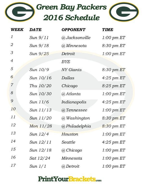 Printable Green Bay Packers Schedule - 2016 Football Season