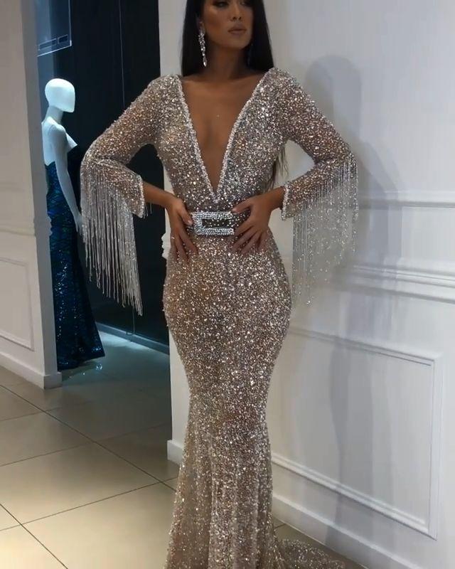 cc50bd542b Sexy Deep V-Neck Floor-Length Sequins Evening Gown