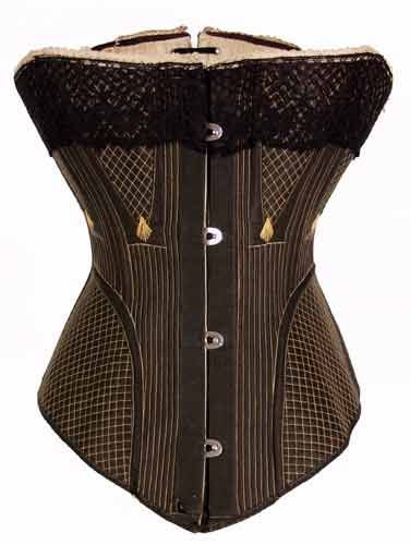 c.1875: Front Busk, Cotton Twill, Black Front, Corsets Inspiration, Busk Corsets, Corsets C1875, Antiques Corsets, Black Corsets, Victorian Corsets