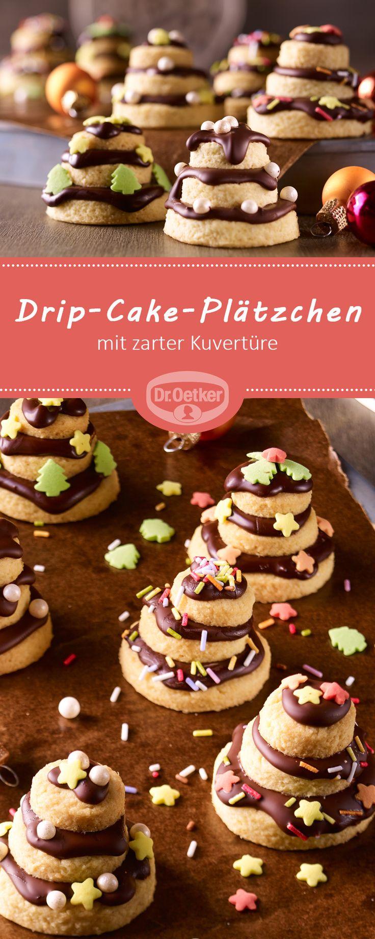 Drip-Cake-Plätzchen: Knusprige Mandelkekse mit zarter Kuvertüre
