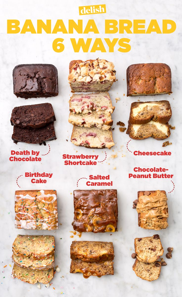 Try one of our 50 most delish banana bread recipes. You'll love birthday cake, salted caramel, chocolate-peanut butter, cheesecake, death by chocolate, and strawberry shortcake.