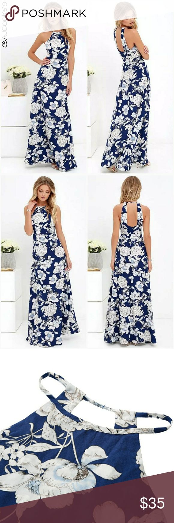 • Just In • Halter Top Floral Print Maxi Dress • Reordering more sizes comment below on what size you want.  Beautiful maxi dress feature white on blue floral print, halter top front and 2 thick back straps. Material: Polyester  Sizes run small please check size chart. AJ's Threads  Dresses Maxi