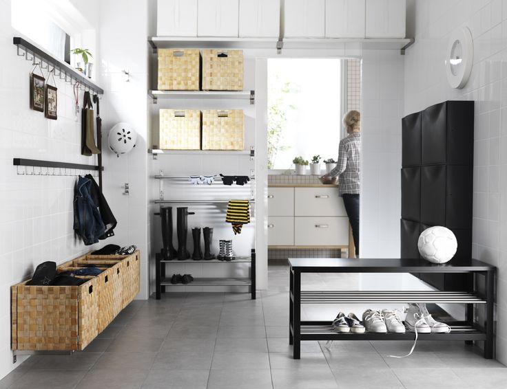TJUSIG bank met schoenenopberger   #IKEA #hal #gang #bankje #kapstok #zwart