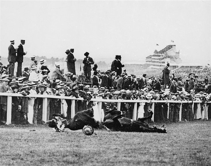 1913: Emily Davison (1872–1913) being fatally injured as she tries to stop the King's horse Amner on Derby Day, to draw attention to the women's suffragette movement.