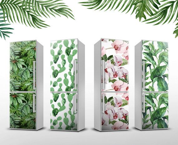 "Autocollant Magnétique Floral I Couverture tropicale pour frigo I Magnet jusqu'à23.6"" x 74.8"" (60x195cm)  I décoration cuisine I Frigo Art"