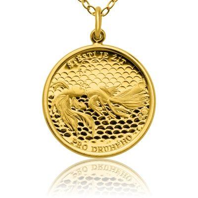 Zlatý přívěsek Rybičky pro štěstí ve váze dukátu proof | Česká mincovna