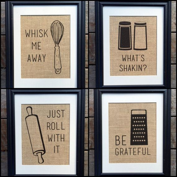Choose Four Funny Kitchen Home Decor Burlap Print by MilsoMade