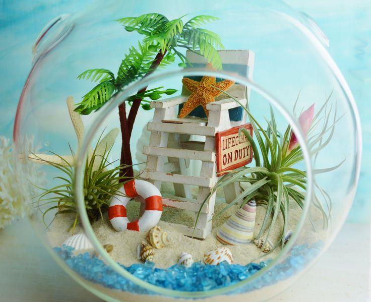 LifeGuard Beach Terrarium ~ Beach Umbrella And Blue Beach Chair ~ 2 Air  Plants ~ 7 Great Pictures