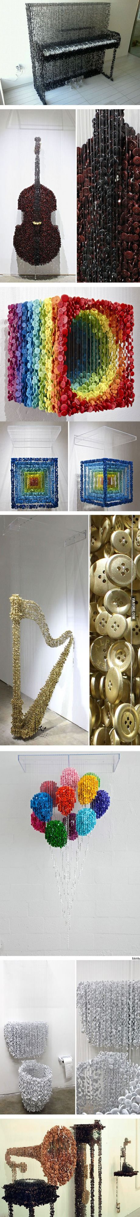 Sculptures made from buttons on strings