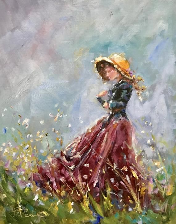Woman In Field Painting : woman, field, painting, Original, Painting/impressionist, Style, Art/woman, Field, Painting, Texture,, Painting,