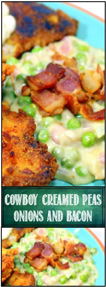Cowboy Creamed Peas with Onions and BACON  Oh Boy Creamed peas but not just any Creamed Peas.  This recipe has an updated Cowboy Bechamel sauce with extra pepper and bacon drippings... Even uses BACON for a Garnish!  This is one of my FAVORITE SIDES of ALL TIME!