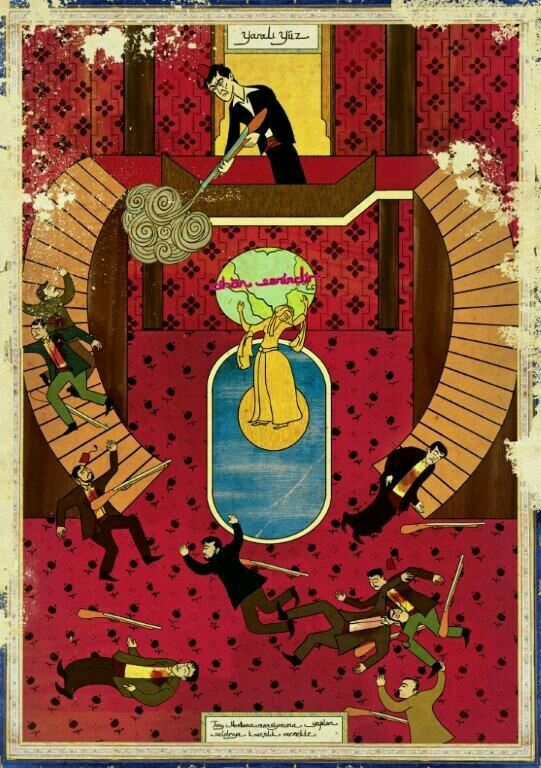 Scarface - Turkish illustrator Murat Palta re-imagines American movies in the style of Ottoman miniatures.
