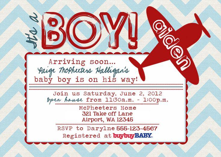 Printable POSTCARD Vintage Airplane baby shower invitation -- A Custom postcard Digital or Printed for you