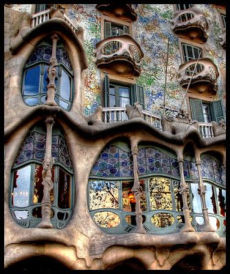 This is the exterior of Casa Batllo, Barcelona, an apartment building designed entirely by Gaudi and considered his masterwork.