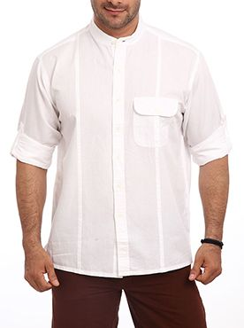 Dress to create an inimitable style statement with this striking casual white solid shirt by Color Plus. Blended from high quality cotton and linen this shirt offers you with unmatched comfort. The regular fit of this shirt gives it comfortable and relaxed look. It has full sleeves and a regular collar. The sleeves can be folded with the help of buttons to create a casual look. Wear this shirt with a pair of denims while hanging out with friends. Pair it with your cargos while on the beach…