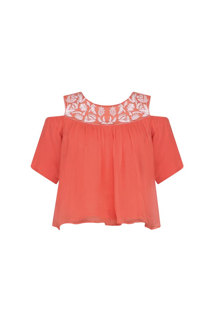 Samatvam Coral floral embroidered cold shoulder top available only at Pernia's Pop Up Shop.