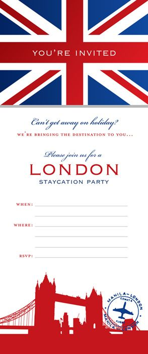 "downloadable invite for staycation party - like the ""you're invited"" on the flag"