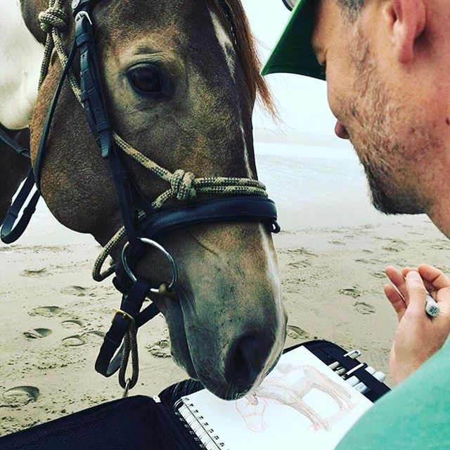 @terrydodsonart getting up close and personal with one of his more inquisitive subjects    Make more art! Share your art with us at #etchrartwork    #drawing #art #horsedrawing #horse #ink #illustration #dailyart #sketch #sketching #sketchbook #onlineart #drawing #artists #urbansketch #pleinair #copicmarkers