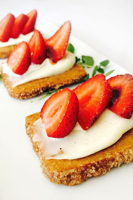 Fig & Olive Melrose Place's Dessert CrostiniIngredients: 1 package shortbread cookies 12 strawberries (preferably from Harry's Berries in Oxnard) 8 oz mascarpone cheese 2 tsp balsamic vinegar reduction Pinch of micro-basil (to garnish)Instructions:  1. Spread mascarpone generously on shortbread cookies.2. Add sliced strawberries.3. Drizzle balsamic reduction on top, and sprinkle micro-basil to garnish.