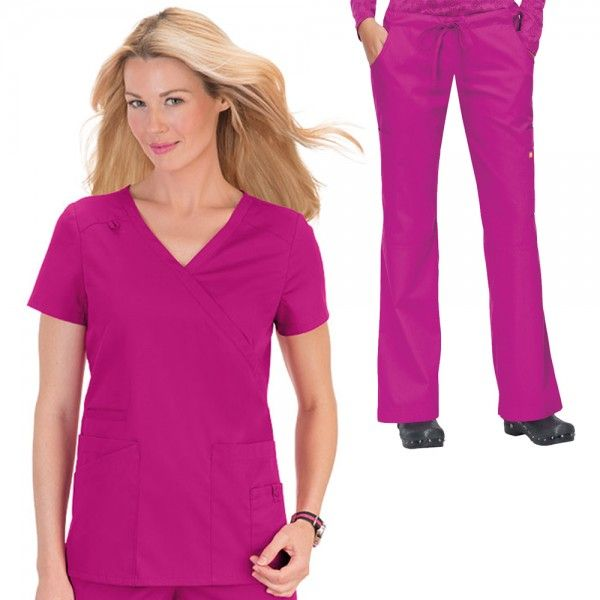 Orange Standard Del Mar Scrub Set in Fierce Fuschia. The Del Mar set is part of the Orange Standard Scrubs Collection range. The Del Mar scrub top is a a very stylish scrub uniform top for all body types. A simplistic banded crossover V-Neck with a tone on tone small loop on the right shoulder for an ID badge. It also features great pocket extras; two very spacious front patch pockets. £39.99 #nursescrubs #dentistscrubs #nurses #dentists #pinkscrubs #nurseuniform