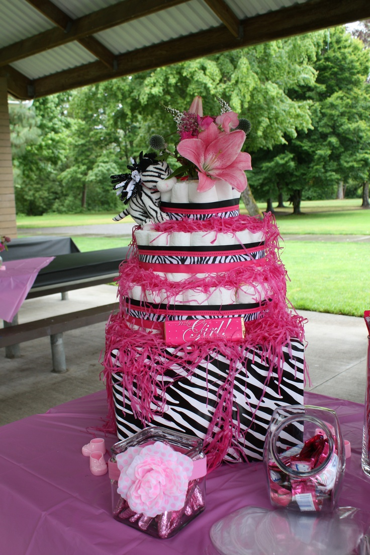 Hot pink zebra print baby girl diaper cake made by me for Animal print baby shower decoration ideas