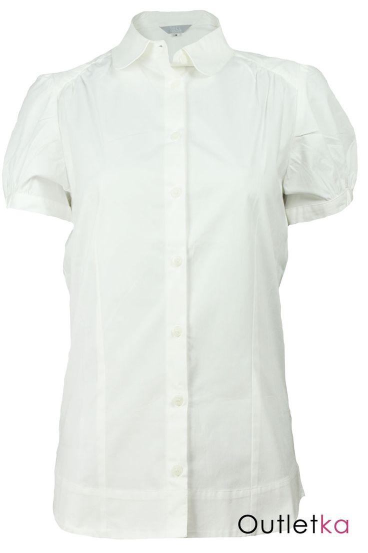 Nowa koszula zachodniej marki Topshop w kolorze białym. Koszula taliowana, na krótki rękaw. Z przodu zapinana na białe guziki. Rękawy również zakończone zapięciem na jeden guzik. Niezwykle szykowna i elegancka.