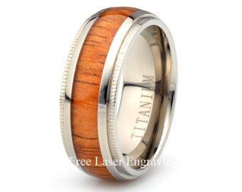 Titanium houten Ring Mens vrouwen Wedding Band koepels aangepaste zijn Hare verjaardag ringen