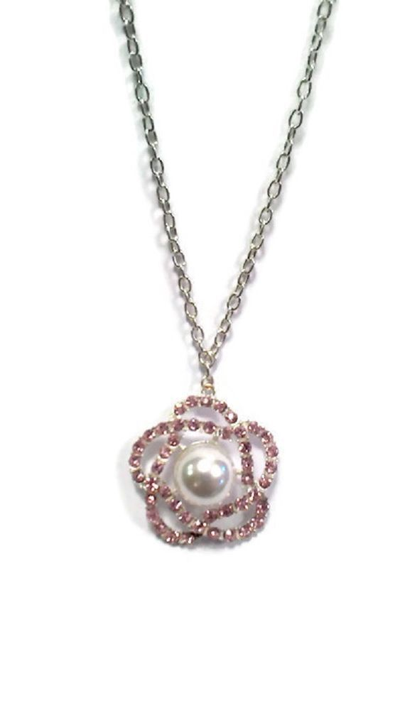 Collana donna necklace con fiore e strass Shiny Flower rosa