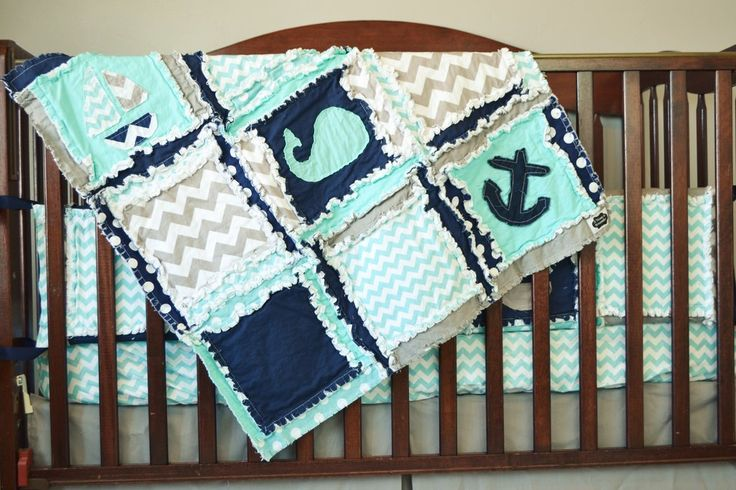 Nautical Crib Bedding for Baby Boy Aqua, Gray, and Navy Blue