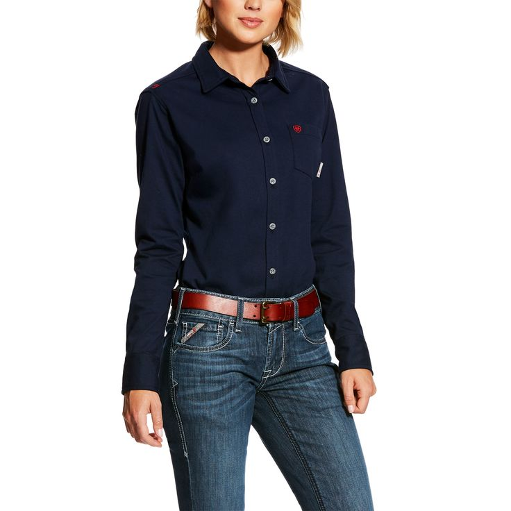 Women's FR Taylor Knit Work Shirt in Navy Blue Cotton, X-Small by Ariat