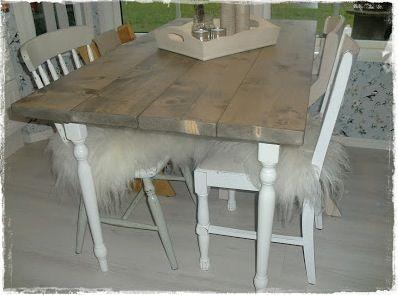 Et sånt bord kan vi lage til drivhuset.Eller kanskje bruke bordplata fra bordet til pappa, med slike ben på.