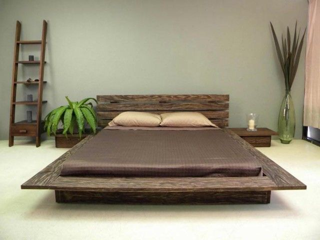 Japanese Inspired Delta Low Profile Platform Bed with Natural Wooden Till Presenting Zen Nuance, Furniture & Bedroom, 640x480 pixels