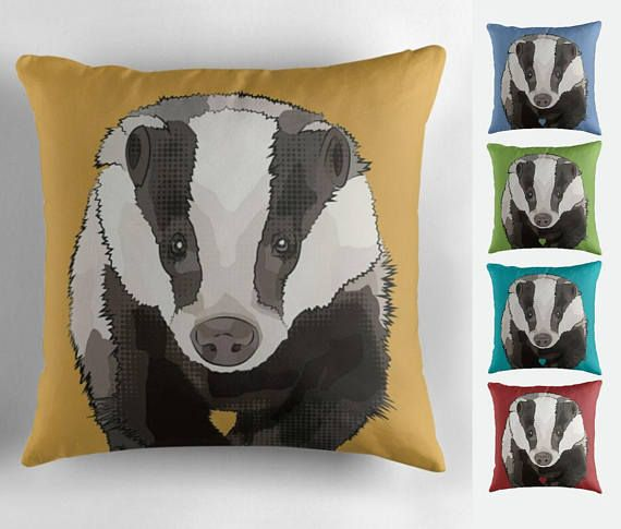 Customisable Badger Cushion for Woodland themed nursery,  garden cushion, playroom. would also suit a Hufflepuff / Harry Potter fan. View this and other wildlife designs here:  https://www.etsy.com/uk/listing/504082195/badger-garden-cushion-picnic-throw
