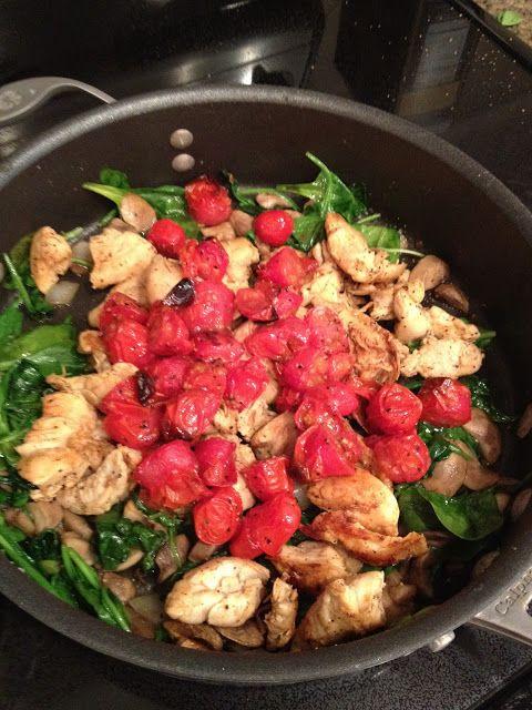 spinach, kale, mushroom, tomato, and chicken saute - paleo friendly recipe