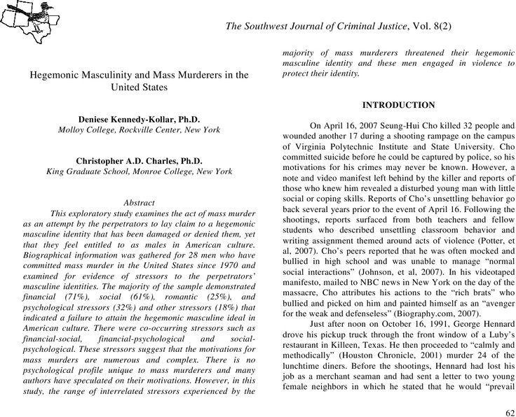 Hegemonic Masculinity and Mass Murderers in the United States | Christopher A.D. Charles - Academia.edu