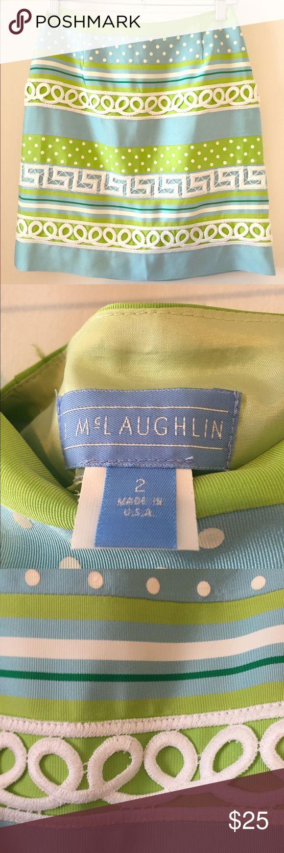 J McLaughlin Silk Ribbon Skirt Beautiful silk skirt with ribbon look pattern, side zipper, 100% silk, fully lined. Excellent condition J. McLaughlin Skirts