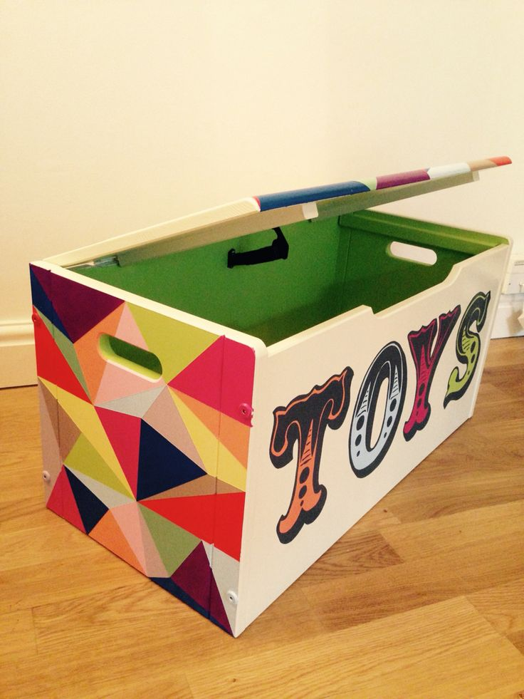 Geometric hand painted toy boxes for sale!