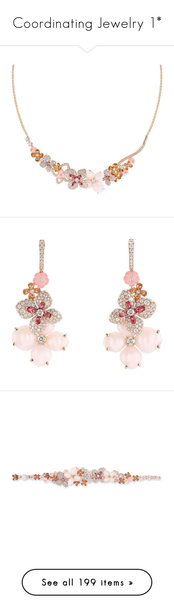 """""""Coordinating Jewelry 1*"""" by thesassystewart on Polyvore featuring jewelry, necklaces, red gold necklace, pink diamond necklace, diamond jewelry, pink jewelry, floral necklace, earrings, pink earrings and chaumet jewelry"""