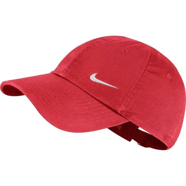 Nike Heritage Performance Cap, Women's, Daring Red ($14) ❤ liked on Polyvore featuring accessories, hats, daring red, nike hat, strap hats, nike, caps hats and nike cap