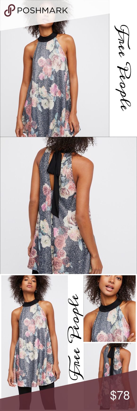 """Pow Wow Sequin Tunic/ Dress Gorgeous floral printed slip dress by Free People featuring a swingy shape, a shimmering sequin design and a sophisticated neckline finished with a back tie detail Back cutout with Chiffon self ties  Intimately Free Nylon- mesh- sequin Perfect dress for date night or girls night out! Approx measurements  Length: 30"""" Bust: 39"""" Free People Dresses Mini"""