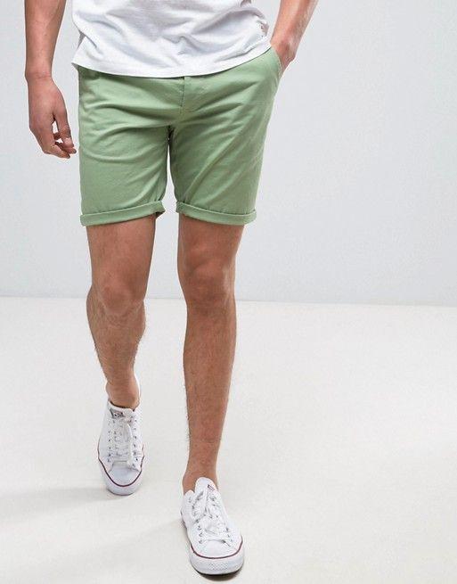 ASOS Slim Chino Shorts In Light Green