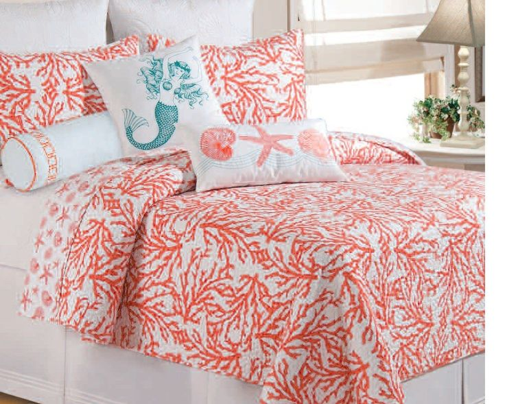 Cora Is Available In Three Colorations: Coral, Teal Blue And Seafoam Green.  Cotton Quilt With Cotton Fill, Cora