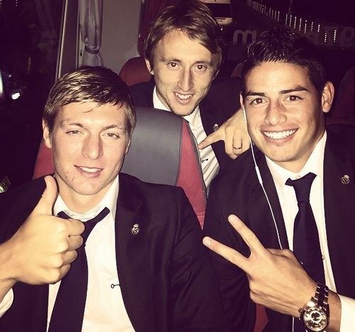 Toni Kroos, Luke Modric and James Rodriguez leaving Bulgaria oct 1/14