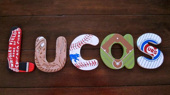 6 Boy's Bench Letters  Chicago Cubs by DecorativeDecoupage on Etsy, $70.00