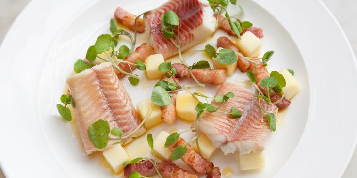 Adam Gray balances rich smoked eel with fresh apples, salty bacon and a zingy ginger dressing in his delicious eel recipe.