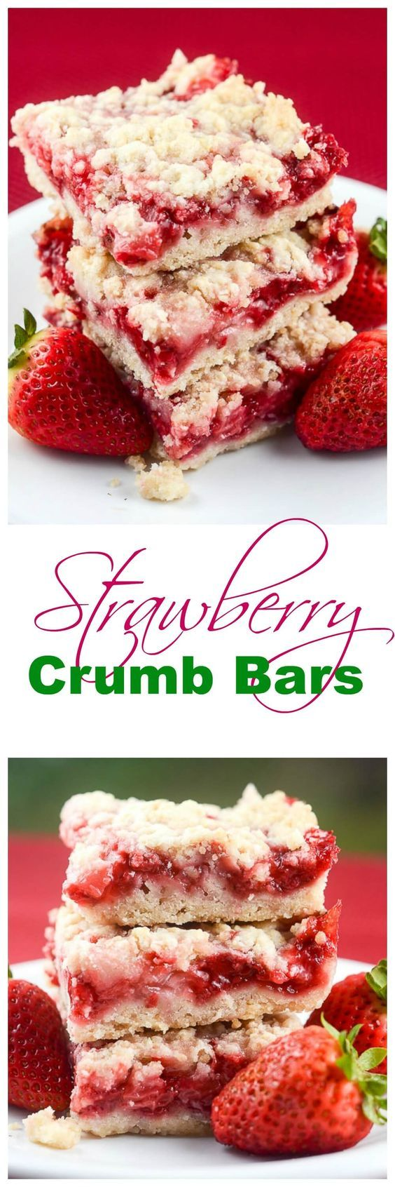 These easy Strawberry Crumb Bars, with a buttery crust, sweet fresh strawberry filling, and crunchy butter crumb topping make wonderful dessert bars for an afternoon snack, or to take to a summer party, picnic, or potluck. ~ http://FlavorMosaic.com: