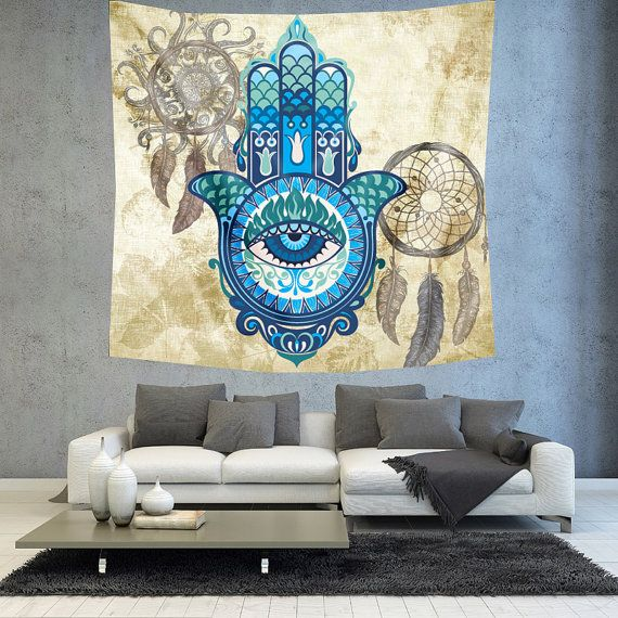 Hamsa hand dreamcatcher wall decor tapestry by Christinedecorshop